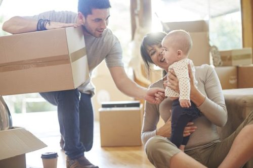 Family moving house, hiring movers