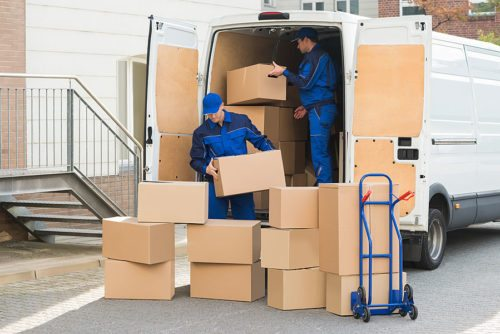 Loading a removal van with boxes