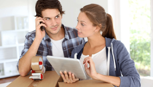 Couple evaluating relocation expenses