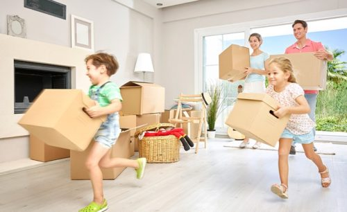 Family moving into new home; house removals
