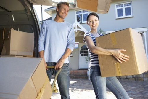 Loading vehicle on moving day; moving house checklist