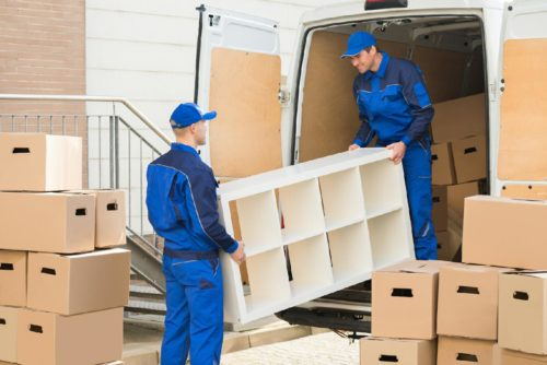 Moving companies loading vehicle