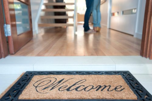 Welcome mat of a couple's new home