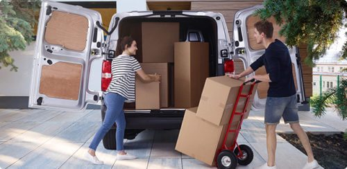 Rental van and packing boxes; cheap removals